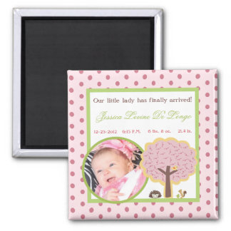 Baby Announcement Magnet Love and Nature Girl Wood