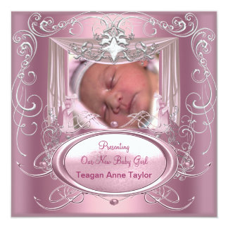 Baby Announcement New Baby Girl Pink Silver Star
