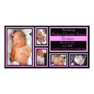 Baby Announcement - Pink Photo Card Template