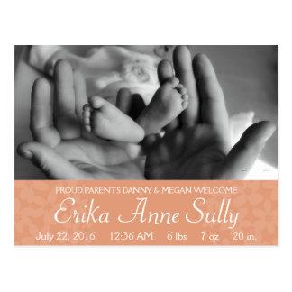Baby Announcement Postcard Peach Floral Customise