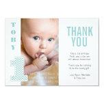 Baby Aqua Chevron 1st Birthday Thank You Photo