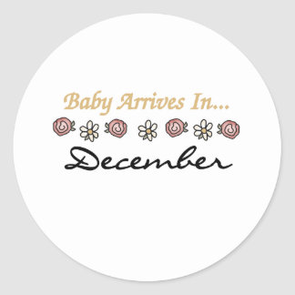 Baby Arrives in December Round Sticker