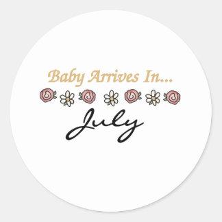 Baby Arrives in July Round Sticker