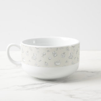 Baby background soup bowl with handle