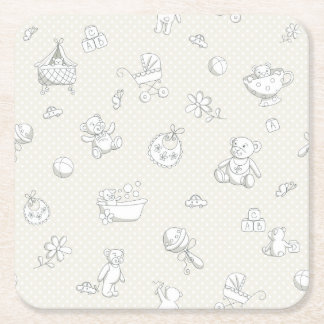 Baby background square paper coaster