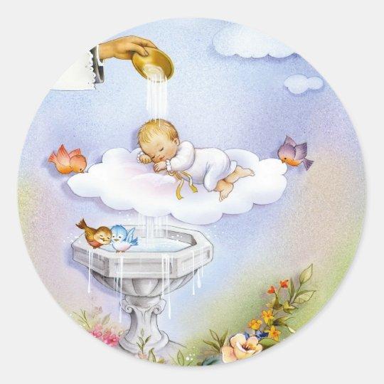 Baby baptism christening invitation card classic round sticker
