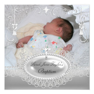 Baby Baptism Girl Boy Christening Silver Pearl 13 Cm X 13 Cm Square Invitation Card