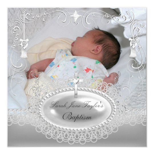 Baby Baptism Girl Boy Christening Silver Pearl Card