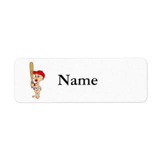 Baby Baseball Red Return Address Label