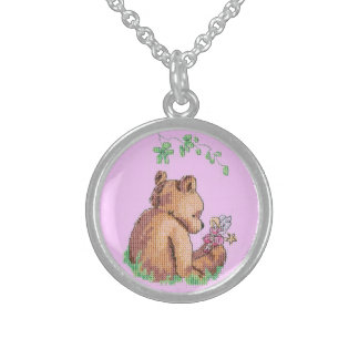 Baby Bear and Fairy in Forest ! Round Pendant Necklace