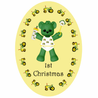 Baby Bear and Tractor Christmas Ornament Photo Cutouts