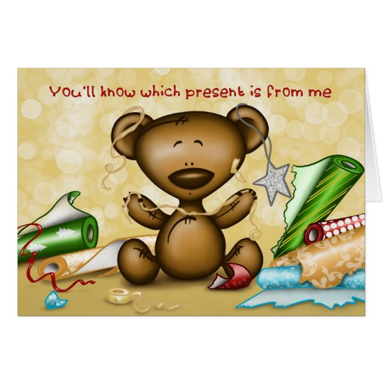 Baby bear bad wrapping - Happy Christmas! Card