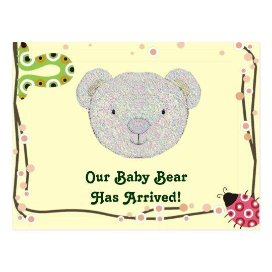 Baby Bear Birth Announcement Postcard