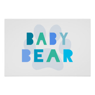 Baby bear - blue poster