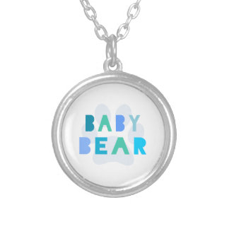 Baby bear - blue silver plated necklace