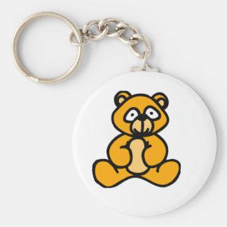 Baby bear cartoon basic round button key ring