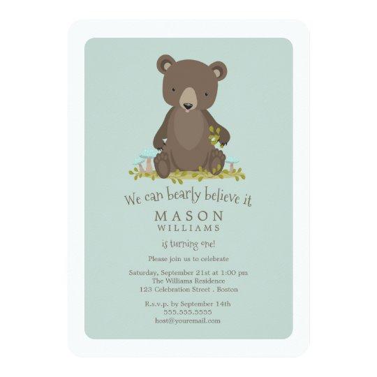 Baby Bear Cub Animal Theme Birthday Party Card