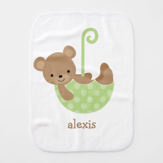 Baby Bear in Green Umbrella Personalized Baby Burp Cloths