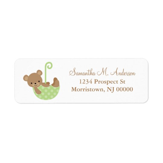 Baby Bear in Umbrella Return Address Labels