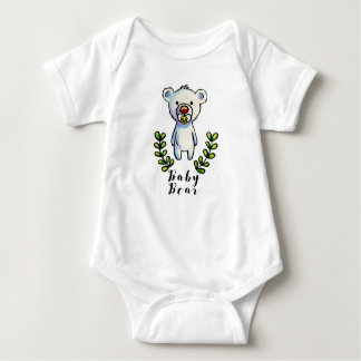 Baby Bear Ink and Watercolor Illustration Baby Bodysuit