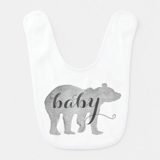 Baby Bear Watercolor Bib