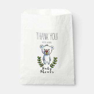 Baby Bear Watercolor Illustration Blue Stripes Favour Bags