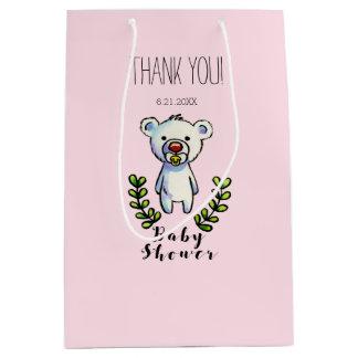 Baby Bear Watercolor Illustration Pink Stripes Medium Gift Bag