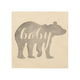 Baby Bear Watercolor Wood Wall Art
