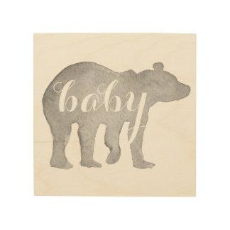Baby Bear Watercolor Wood Wall Art Wood Canvas