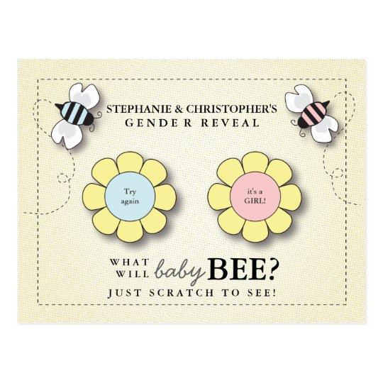 Baby Bee Gender Reveal Pretend Scratcher Game Post