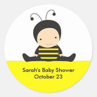 Baby Bee Shower Stickers Round Sticker