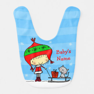 ♥ BABY BIB ♥ Cute girl and cat in snow Christmas