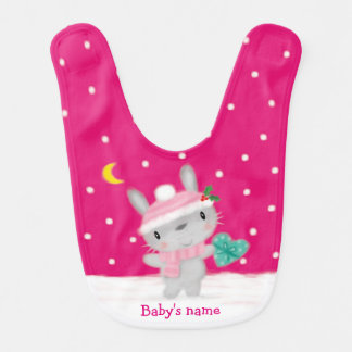 ♥ BABY BIB ♥ Cute pink bunny rabbit snow christmas