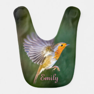 Baby bib featuring flying robin and your name