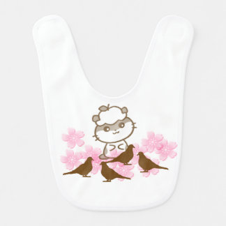 Baby Bib-Little Cat and Sparrows Baby Bib