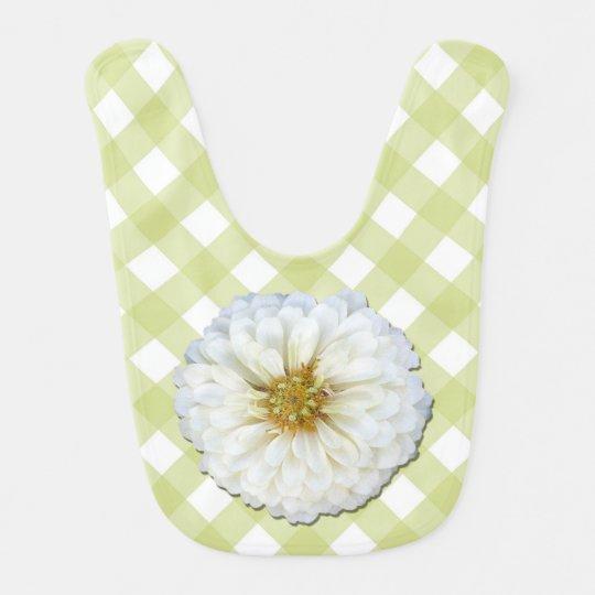 Baby Bib - White Zinnia on Lattice