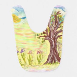 Baby Bib with hand painting of tree flowers sky