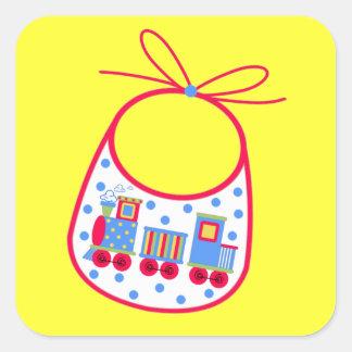 Baby Bib With Train Square Sticker