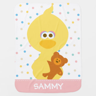 Baby Big Bird and Teddy | Add Your Name Baby Blanket
