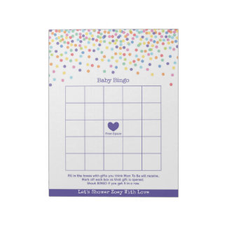 Baby Bingo Confetti Theme Baby Shower Game Notepad