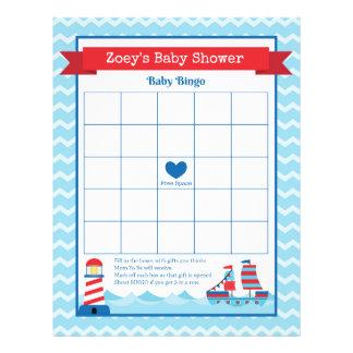Baby Bingo Nautical Theme Baby Shower Game 21.5 Cm X 28 Cm Flyer