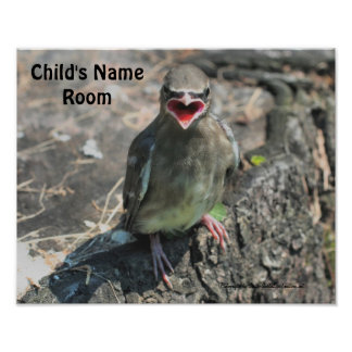 Baby Bird Kids Room Personalized Wall Poster