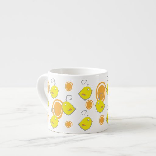 baby bird yellow pattern chickens and dots espresso mugs