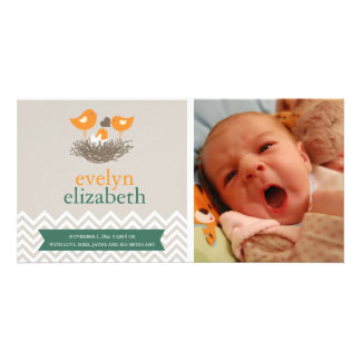 Baby Bird's Nest Baby Announcement - Chevron Customised Photo Card
