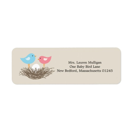 Baby Bird's Nest Baby Shower Return Address Label