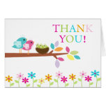 Baby Birds Nest Triplets Thank You Note Card