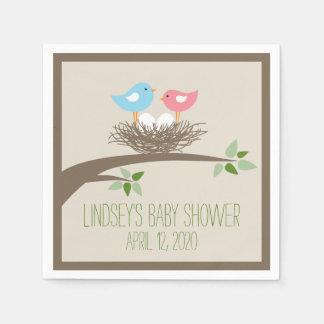Baby Bird's Nest   Twins Baby Shower Disposable Serviette