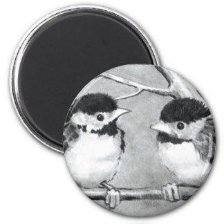 BABY BIRDS TALKING/TWEETING 6 CM ROUND MAGNET
