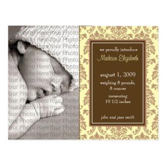 Baby Birth Announcement Baroque Vintage Yellow Postcard