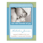 Baby Birth Announcement Blue Polka Dots Post Cards